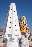 The mosaic chimneys ,  Barcelona, Spain Royalty Free Stock Photo