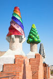 The mosaic chimneys made of broken ceramic tiles Royalty Free Stock Images