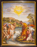 Mosaic Christ Baptism - Florence. A fine mosaic of Christ Baptism Royalty Free Stock Photo