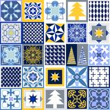 Mosaic Christmas background. Set of tiles with different ornaments. Snowflakes, stars, fir trees, classical patterns. White, blue, grey and yellow winter Royalty Free Stock Photo