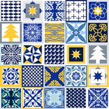 Mosaic Christmas background. Set of tiles with different ornaments. Snowflakes, stars, fir trees, classical patterns. White, blue, grey and yellow winter Royalty Free Stock Images