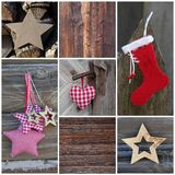 Mosaic Christmas greeting card in red with wood - country style Royalty Free Stock Photos