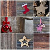 Mosaic Christmas greeting card in red with wood - country style Royalty Free Stock Images