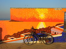 Mosaic Chuim village Bandra Mumbai India. Bicycle in front of mosaic Mumbai India Stock Photography