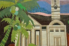 Mosaic of church with palm tree in abandoned school Royalty Free Stock Photo