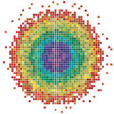 Mosaic Circle. A mosaic circle made of 1502 individual squares, in differente colors. Editable  illustration Royalty Free Stock Images