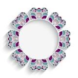 Mosaic circle frame. Mosaic round ornament, ceramic or majolica circle frame on white background Stock Photo