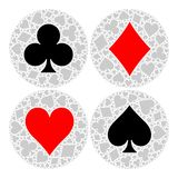 Mosaic circle of poker playing card suit with main symbol in the middle - heart, diamond, spade and club. Flat vector Stock Image