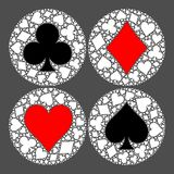 Mosaic circle of poker playing card suit with main symbol in the middle - heart, diamond, spade and club. Flat vector. Illustration on grey background Royalty Free Stock Image