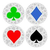 Mosaic circle of poker playing card suit with main symbol in the middle - red heart, blue diamond, black spade and green. Club. Flat vector illustration on Stock Image