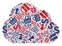 Shopping Composition of Mosaic Cloud Icon stock illustration