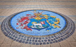 Mosaic with Coat of Arms of Debrecen, Hungary Royalty Free Stock Image
