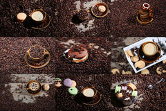 Mosaic of coffee cups photos. Coffee beans in a coffee cup and some cake, one macaron cake Royalty Free Stock Photography