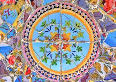 Mosaic. Colored broken ceramic mosaic pattern of Gaudi in Parc Guell, Spain stock images