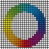 Mosaic of common rainbow colors spectrum circle Stock Images
