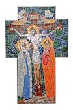 Mosaic cross with crucifix Royalty Free Stock Images