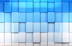 Mosaic cubes background. Abstract cubes background in blue toned Vector Illustration