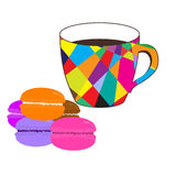 Mosaic  cup of coffee with colored macaroons Royalty Free Stock Photo