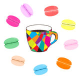 Mosaic cup of coffee with colored macaroons on white background Stock Images