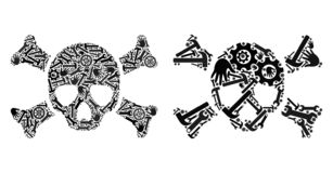 Mosaic Death Skull Icons of Repair Tools royalty free illustration