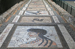 Mosaic decoration on the garden steps walkway Royalty Free Stock Photography