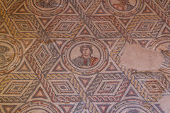Mosaic decoration of the ruins of ancient Villa Romana del Casale. Sicily island, Italy Royalty Free Stock Photo
