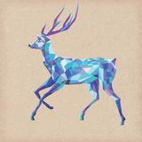 Mosaic deer in blue colours for christmas design Stock Photography