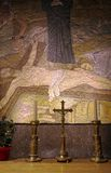 Post Crucifixion Mosaic - Church of the Holy Sepulchre. Mosaic depicting the moments after Jesus's crucifix was taken down, with Maria Magdalene spreading in cry Stock Image