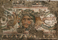 Mosaic detail. Head of ocean, great palace museum of mosaics, Istanbul, Turkey Royalty Free Stock Image