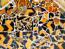 Mosaic Detail. In park Guell in Barcelona, Spain Stock Images