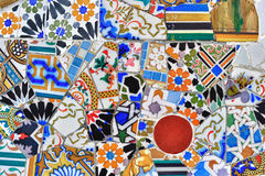 Mosaic detail in Guell park in Barcelona Royalty Free Stock Photo