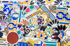 Mosaic detail in Guell park in Barcelona Stock Images