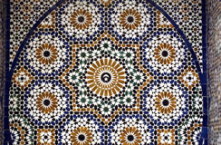 Mosaic detail of an old palace in Marrakesh Stock Images
