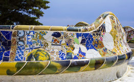 Mosaic detail in Park Guell Stock Images