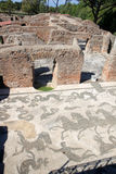 mosaic di海王星在Ostia Antica,意大利 免版税库存图片