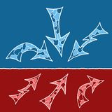 Mosaic doodle arrows. In blue and red variants Royalty Free Stock Image