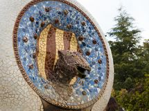 Mosaic dragon fountain in park Guell, Barcelona. Mosaic dragon fountain made from broken ceramic tiles in Park Guell designed by Antoni Gaudi Stock Image