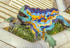 Mosaic dragon iguana lizard sculpture Gaudi Stock Image