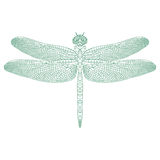 Mosaic dragonfly for coloring and design. royalty free stock image