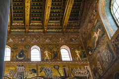 Mosaic in Duomo di Monreale in Sicily. MONREALE, ITALY - JUNE 25, 2011: mosaic in Duomo di Monreale in Sicily. The cathedral of Monreale is one of the greatest royalty free stock photo