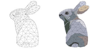 Mosaic easter bunny for coloring and design with example. isolated on white background. Royalty Free Stock Photo