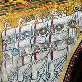 Mosaic of the 24 elders from the Book of Revelation, Santa Prass. Ede, Rome, Italy - May 3, 2017 Royalty Free Stock Photography