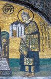 Mosaic of Emperor Constantine. In the Hagia Sofia church, Istanbul, Turkey Royalty Free Stock Images