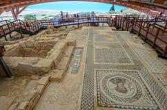 Mosaic in Eustolios house at Kourion on Cyprus. Mosaic on floor of Eustolios house at ancient town Kourion on Cyprus Stock Photos