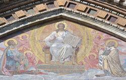 Mosaic on facade of orthodox church Spas na Krovi Royalty Free Stock Photos