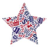 Shopping Composition of Mosaic 5-Finger Star Icon stock illustration