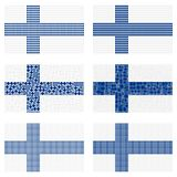 Mosaic Finland flag set. Mosaic Finland national flag vector design set Royalty Free Stock Photo