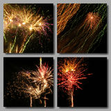 Mosaic Fireworks Set. Vector Mosaic Fireworks Backgrounds Set. Four Colorful Salutes in black sky for Independence Day, Birthday or New Year Party greeting Stock Photos