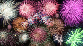 Mosaic of fireworks Stock Photos