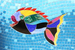 Mosaic Fish 1. Fish made of mosaic and broken tiles and pebbles stock photos